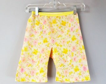 Vintage Shape Wear Closed Bottom Girdle Pink and Yellow Floral Girdle Vintage Size Large Modern Small