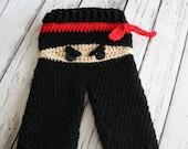 MOTHERS DAY SALE New - Ninja Pants - Baby Ninja Pants - Crochet Ninja Pants - Baby Costume Pants - Black Ninja Pants - Crochet Pants - by Jo