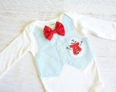 READY TO SHIP, Size 9 Months Long Sleeve Winter Snowman Baby Boy Tuxedo Bodysuit Vest with Removable Matching Bow Tie