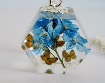 Forget Me Not Necklace, Monarch Butterfly Pendant, Blue Pressed Flower Necklace, Gift for Women, Eco Resin, Hexagon Necklace