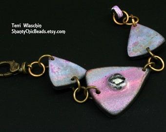Handmade Polymer Clay Bracelet - purple volcano - ABSTRACT