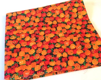 Halloween Print Fabric, 1 yd Mystery Fabric, Jack o Lantern Sewing Material, Sewing Supplies