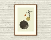 DAVID BOWIE Inspired Abstract Poster, Art Print - 12 x 18 Abstract Minimalist Shapes, Collage, Cut Paper, Gold, Fine Art