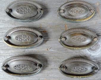 Vintage Drawer Handles Dresser Pulls Brass Set of 6 Oval Shape Home Improvement