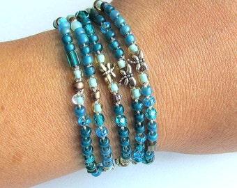 "Beaded crochet necklace, wrap bracelet , ""starlight"", teal, crochet jewelry, boho chic, bohemian jewelry, fall fashion, coffycrochet"