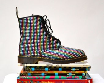 Amazing 90s Metallic Silver Rainbow Dr Martens Boots Size 12 13// Vintage Doc Marten Metallic Silver Boots Size UK 12 Made in England US 13