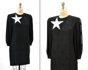 Vintage Black Silk Dress Medium Large White Star Print// Black Silk Dress with Conversational Pop Art Print Stars Medium David Hayes