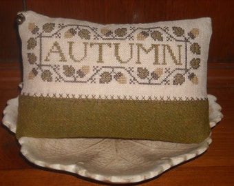 Simple Autumn Pinkeep, Pincushion, Cupboard Pillow, Early Workings Design, Cross Stitch ~ FREE U.S. SHIPPING