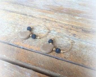Gold filled Hoop earrings handmade ceramic beads ceramic earrings