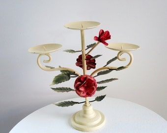 Vintage Tole Candle Holder, Metal Flower Rose Candleholder, Painted Metal Roses, Rustic Farmhouse Decor, Cottage Decor, Cast Iron Candelabra
