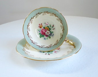 Vintage Tea Cup and Saucer Sage Green Floral, Aynsley Teacup and Saucer Set, Bone China Cup and Saucer Pastel Green SwirlingOrange11