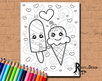 instant download coloring page ice cream and popsicle in love art coloring print doodle - Printable Popsicle Coloring Pages