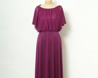 Vintage dress / 70s Dress / Dresses / 1970s  / 70s Maxi Dress / Disco / Studio 54 dress / Boho Dress / 70's Maxi Disco Dress Plum
