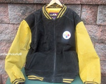 Pittsburgh Steelers NFL Suede Leather Proplayer Large Jacket Coat Vintage