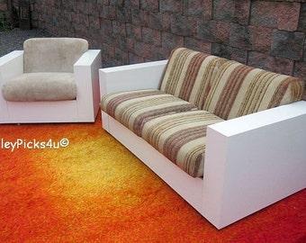 Vintage Mid Century Modern Cube Thayer Coggin Sofa Chair Set ~Milo Baughman