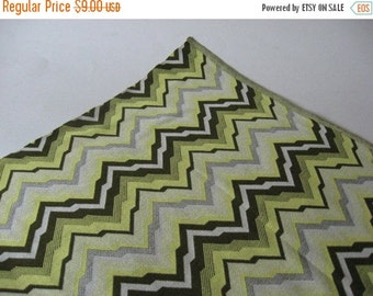 40% SALE Glorious mid century vintage silky polyester knit fabric chevron zig zag greens wide print 2 yards available
