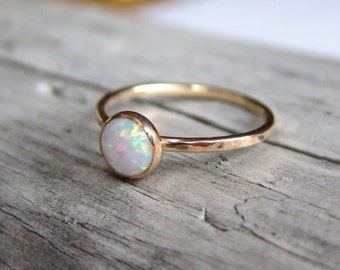 Opal ring. Gold ring band. October birthstone stacking ring.