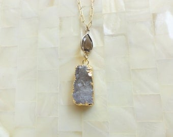 Gold Edge Sugary Brown Druzy Drusy Pendant and Smoky Quartz Vermeil Bezel Connector on Gold Chain Necklace (N1713)