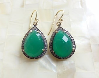 Faceted Green Onyx & Cubic Zirconia Pave Vermeil Pear Shaped Drop Dangle Earrings (E1258)