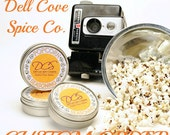 Custom popcorn and seasoning 4 pack - baby white, ruby red, iced gingerbread, salt & vinegar