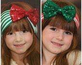 Christmas Headband,Baby Headband,Girls headbands,baby girl headband,Christmas Head wrap, sequin Messy Bow, Big Bow Headband,