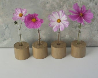 Tes tube flower vase, Set of Four, bud vases, wood rounds, soft brown green,