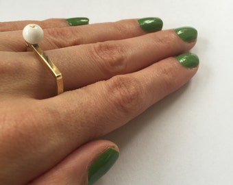 Midcentury modern White Onyx Ball Brass Square Wire Ring