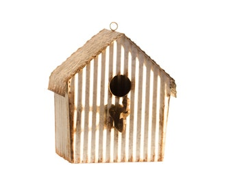 Upcycled Ceiling Tin Bird House with Cast Iron Perch
