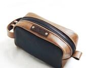 Groomsmen gift, shaving kit, makeup kit, grooming kit, toiletery bag, leather dopp kit, Christmas gift, Valentine gift  - Made in USA