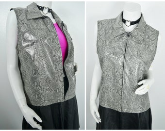 90s PVC grey snake print zip up collared vest size L large
