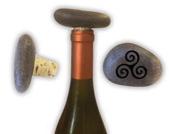 Engraved Symbol Wine Stopper on Natural Stone  - 6855 Celtic