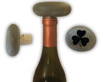 Engraved Symbol Wine Stopper on Natural Stone  - 6978 Shamrock