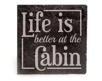 Coasters Set of 4 - black granite laser - 9937 Life is better at the Cabin