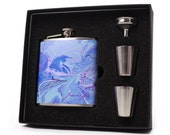 Personalized Flask for Women // Blue Marble Flask