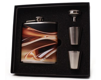 Custom Flask Gift Set with Shot Cups, Funnel and Display Box