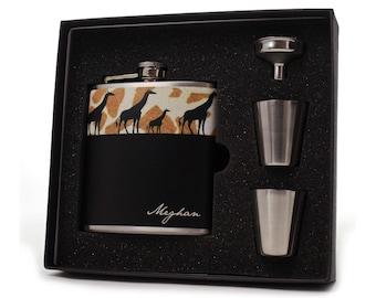 Giraffe Gift // Personalized Flask Gift Set // 6oz