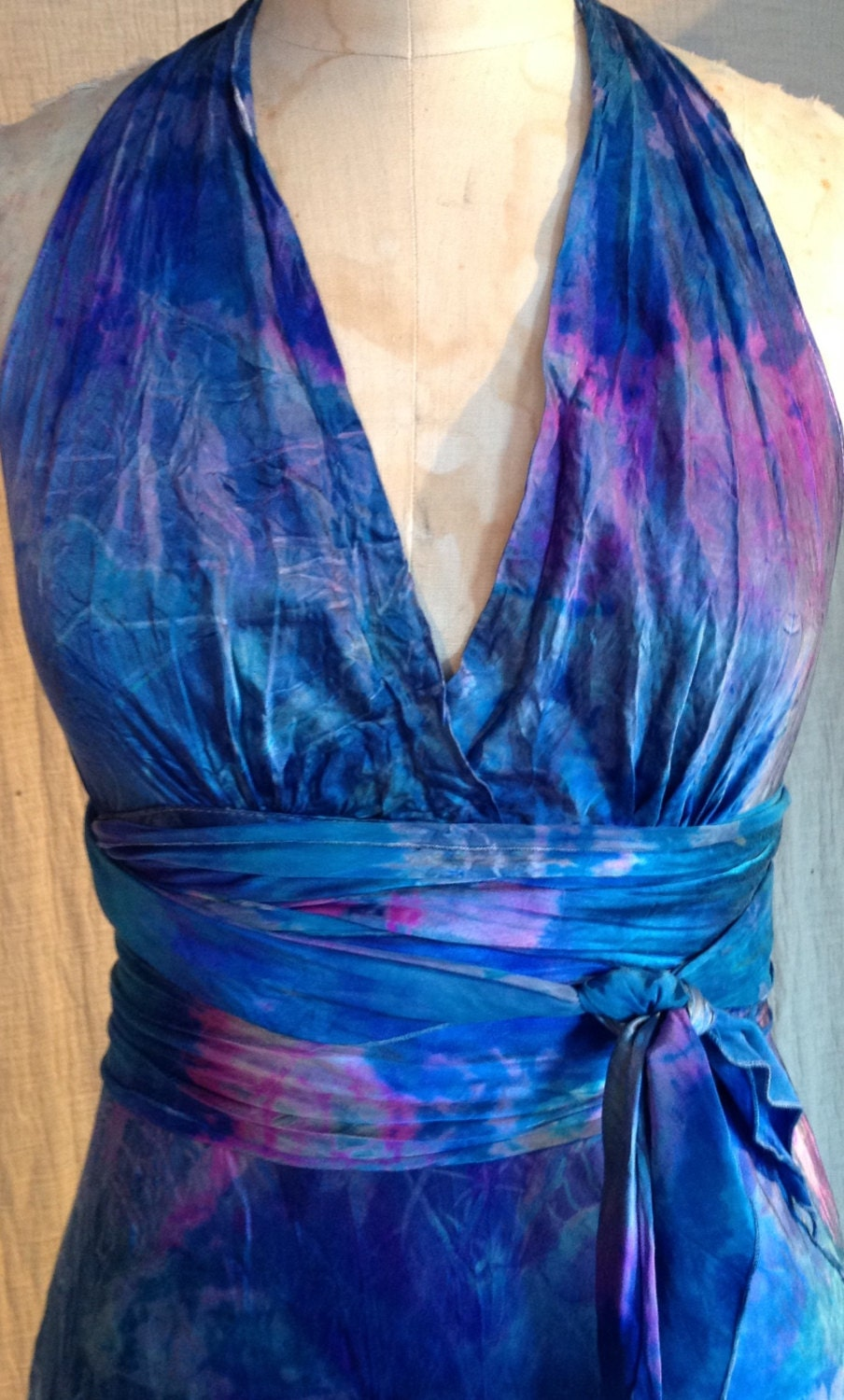 Ocean blue tie dyed boho chic bridal gown tie dye bridesmaids for Tie dye wedding dress