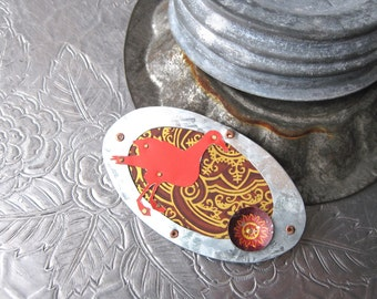 Red Bird Brooch- Mixed Tin Collage Brooch