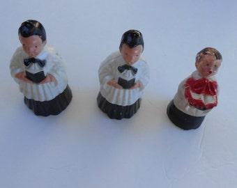 vintage Christmas choir boys 2 plastic 1 chalkware