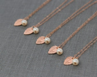 Fall Bridesmaid Necklaces Set of 6, Rustic Wedding Jewelry, Pearl Rose Gold Necklaces, Rose Gold Leaves Jewelry