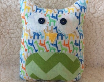Ollie the owlet - stuffed owl - giraffes with green chevron belly
