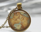 ON SALE Peter Pan Necklace Never Land Map Neverland Jewelry Fairy Tale Art Pendant in Bronze or Silver with Link Chain Included