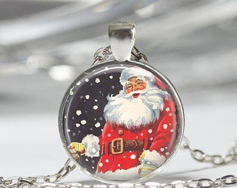 ON SALE Christmas Jewelry Jolly Santa Necklace Retro Santa Claus Snowflakes Art Pendant in Bronze or Silver with Link Chain Included
