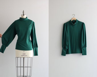 Forest Green Poet Sleeve Blouse . Vintage Womens Shirt . 1960s 60s Turtleneck