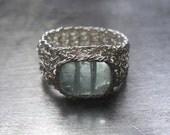 Aquamarine Ring, Fine Silver Wire Crochet Ring, Gemstone Jewelry, March Birthstone Jewelry