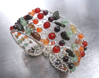 Multicolor Gemstone Silver Bracelet Cuff, Sterling Silver Knit Wire Crochet Bracelet with Carnelian Tourmaline Garnet Aventurine