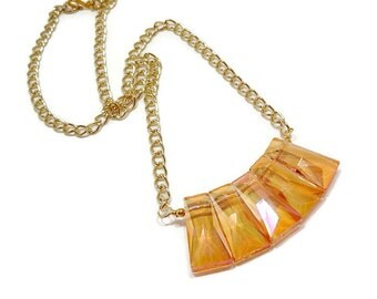 Orange Crystal Statement Necklace, Crystal Fringe Necklace, Boho Chic Necklace, Bohemian Necklace, Artisan Necklace, Gold Chain Necklace