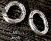 2 Sterling Silver Artisan Jump Rings - Oval Chunky - OPEN  12mm Organic Links  - AC138