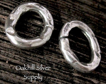 2 Large Sterling Silver Artisan Jump Rings - Oval Chunky - OPEN  12mm Rustic Links  - AC138
