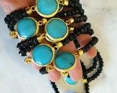 Ocean Blue agate stretch bracelet- Agate in gold belle with black jade, stretch bracelet, boho bracelet
